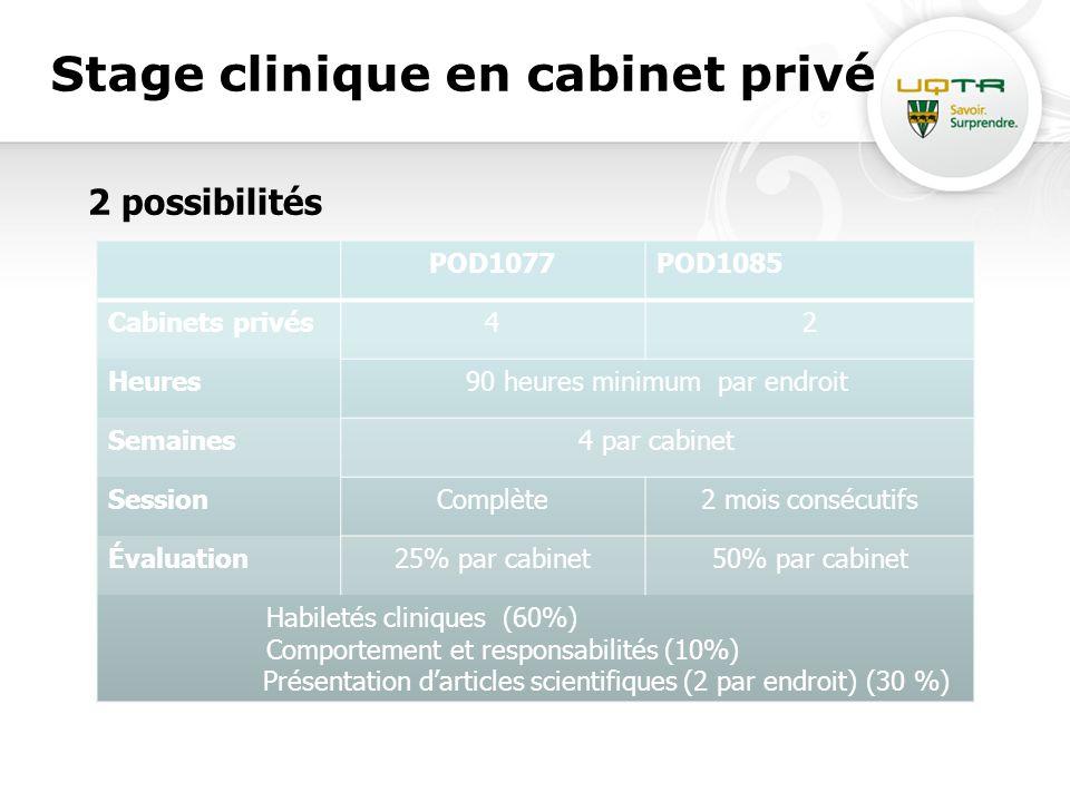 Stage clinique en cabinet privé 2 possibilités