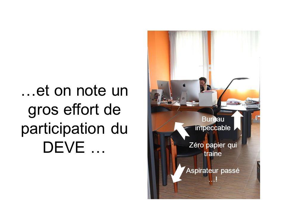 …et on note un gros effort de participation du DEVE … Bureau impeccable Zéro papier qui traine Aspirateur passé …!
