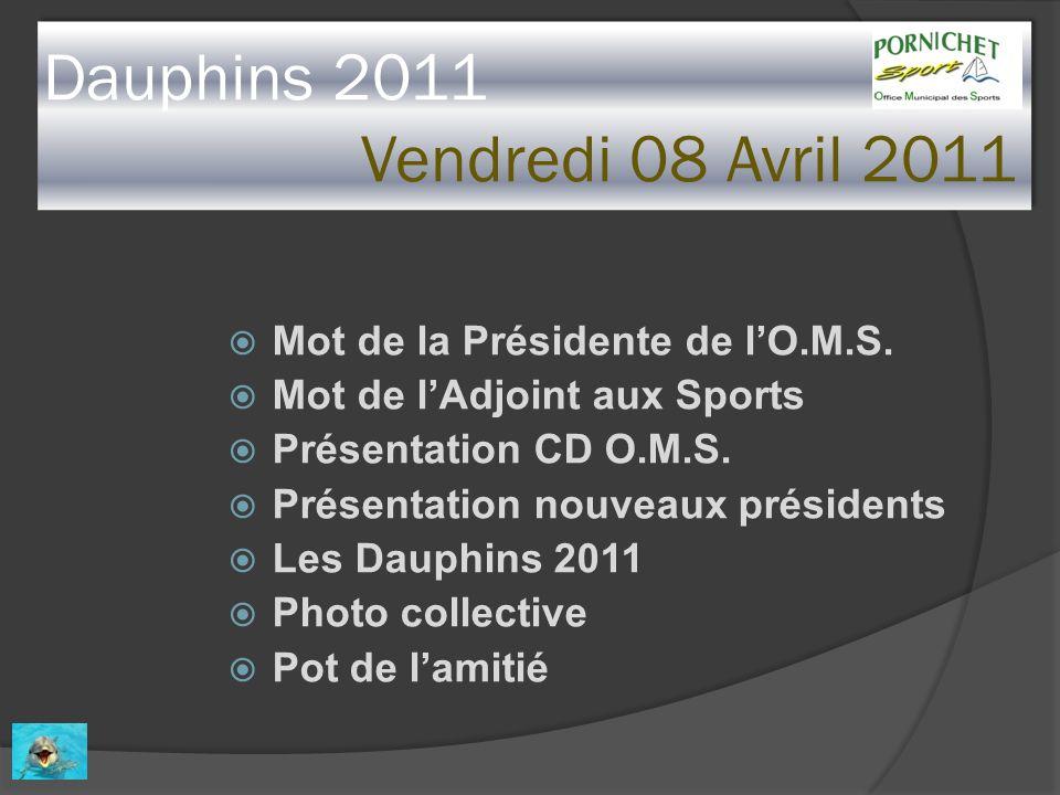 Dauphins 2011 Vendredi 08 Avril 2011 Mot de la Présidente de lO.M.S. Mot de lAdjoint aux Sports Présentation CD O.M.S. Présentation nouveaux président