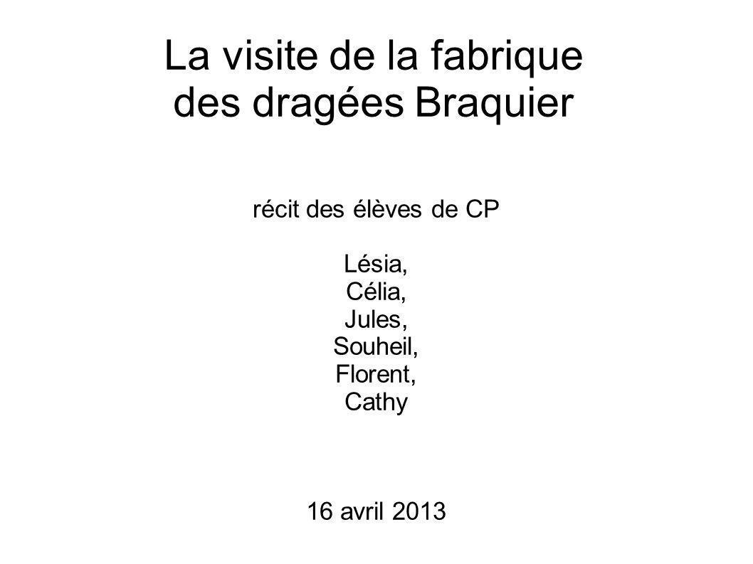 La visite de la fabrique des dragées Braquier récit des élèves de CP Lésia, Célia, Jules, Souheil, Florent, Cathy 16 avril 2013