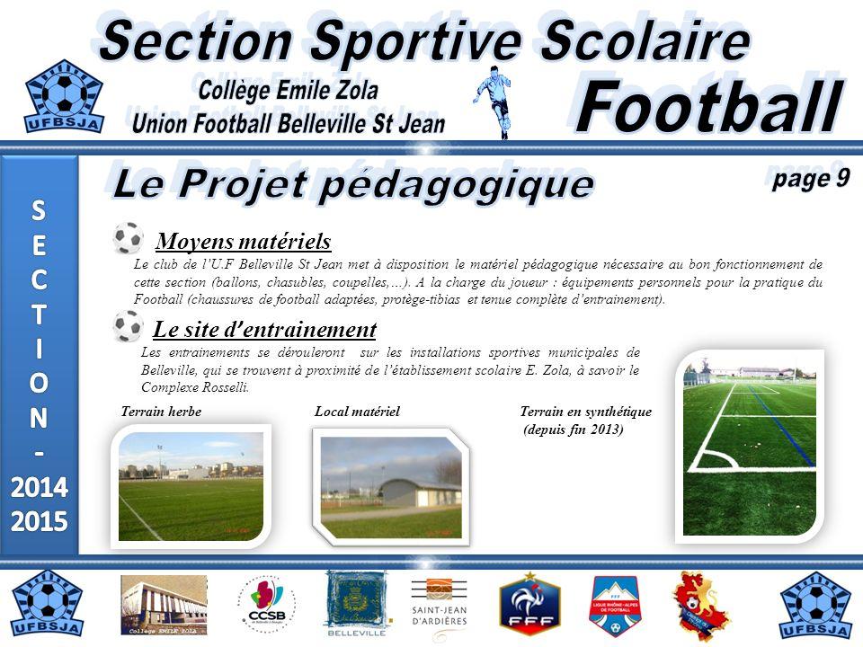 Moyens matériels Le club de lU.F Belleville St Jean met à disposition le matériel pédagogique nécessaire au bon fonctionnement de cette section (ballo