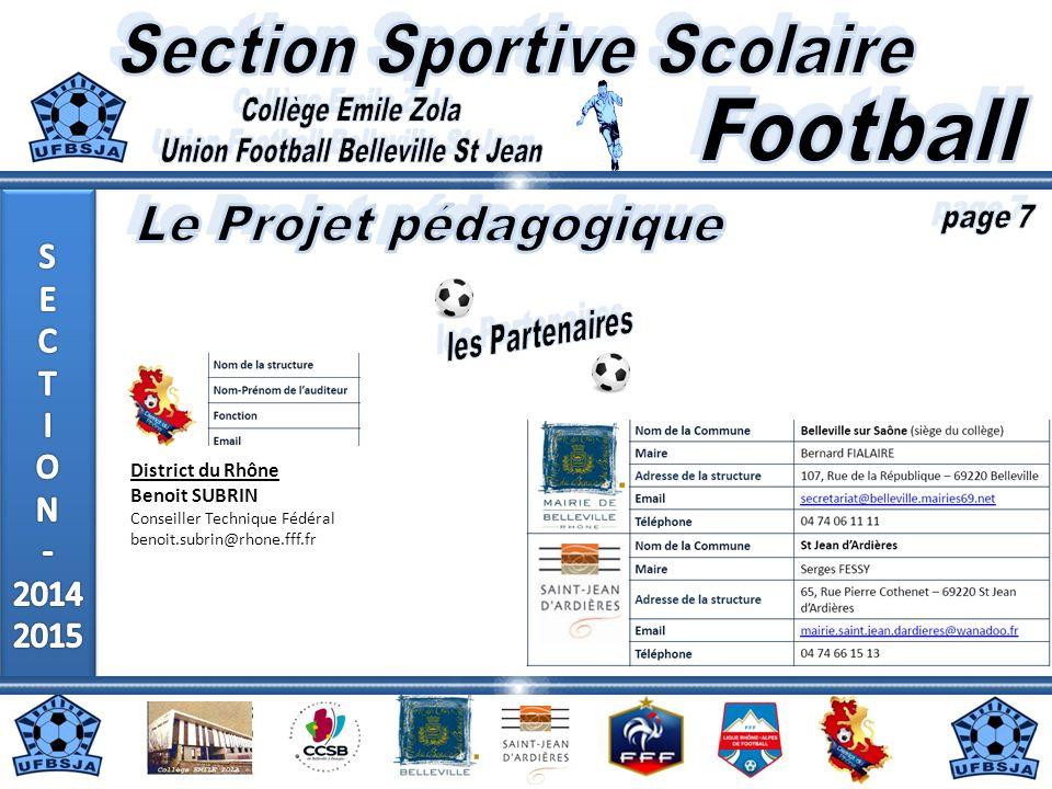 District du Rhône Benoit SUBRIN Conseiller Technique Fédéral benoit.subrin@rhone.fff.fr