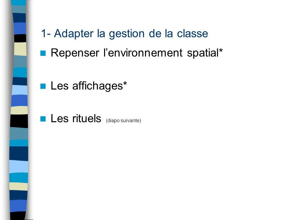 1- Adapter la gestion de la classe Repenser lenvironnement spatial* Les affichages* Les rituels (diapo suivante)