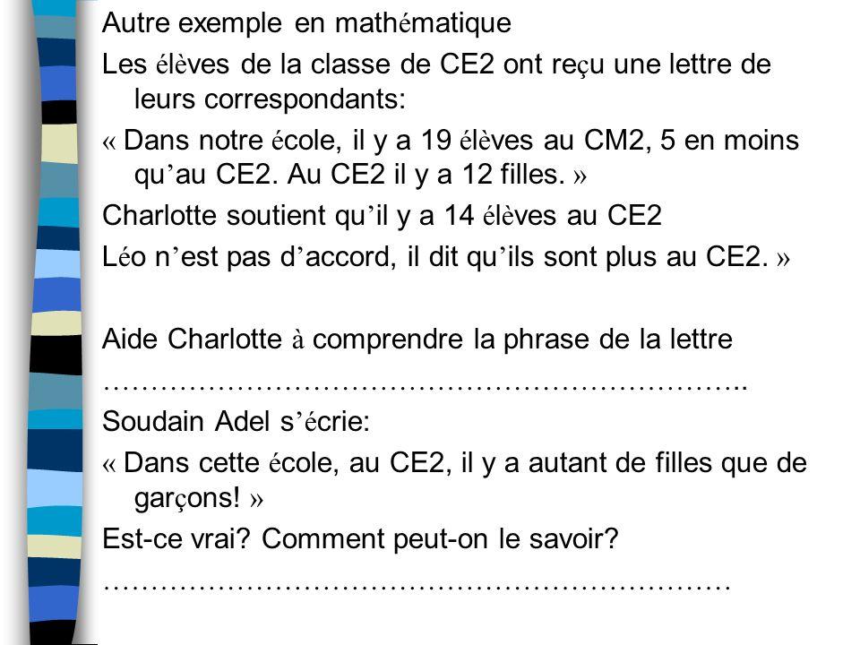 Autre exemple en mathématique Les élèves de la classe de CE2 ont reçu une lettre de leurs correspondants: « Dans notre école, il y a 19 élèves au CM2, 5 en moins quau CE2.
