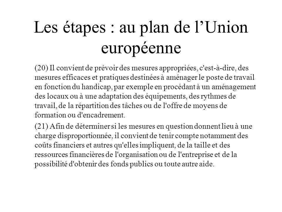 Les étapes : au plan de lUnion européenne (20) Il convient de prévoir des mesures appropriées, c'est-à-dire, des mesures efficaces et pratiques destin