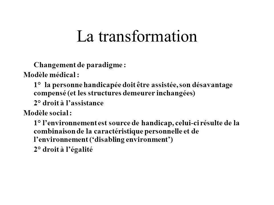 La transformation Changement de paradigme : Modèle médical : 1° la personne handicapée doit être assistée, son désavantage compensé (et les structures