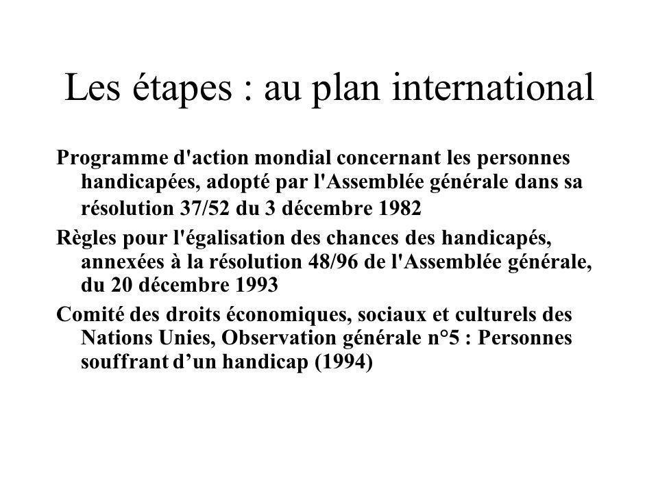 Les étapes : au plan international Programme d'action mondial concernant les personnes handicapées, adopté par l'Assemblée générale dans sa résolution