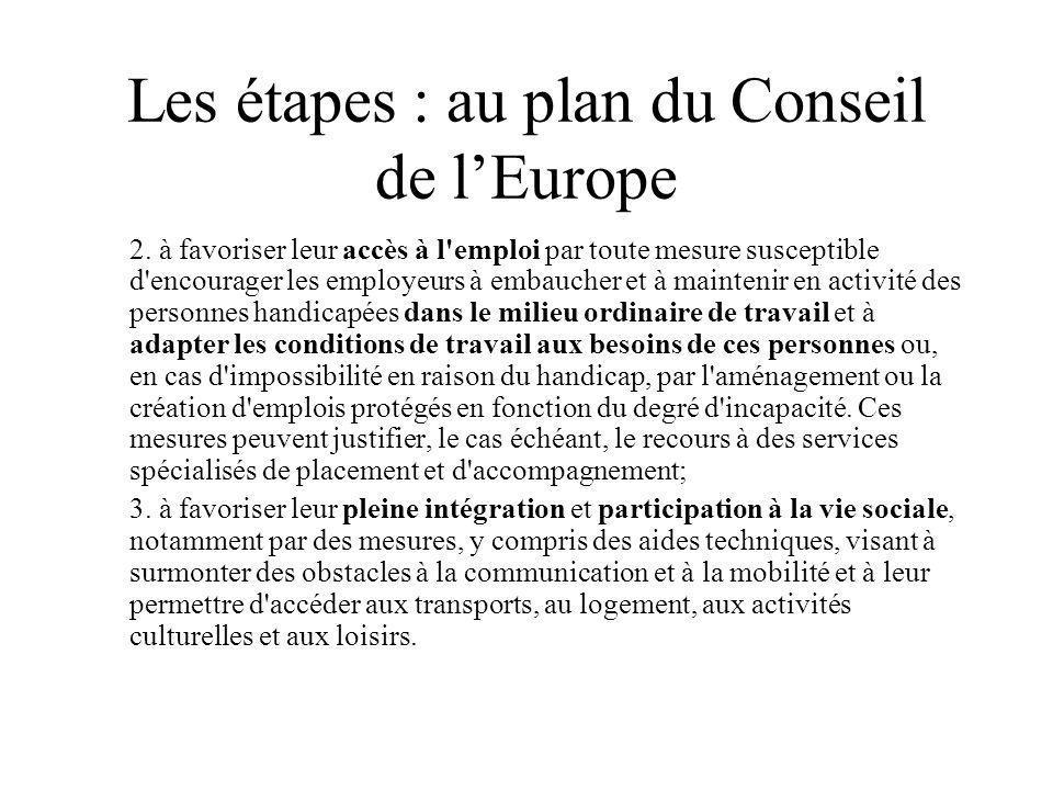 Les étapes : au plan du Conseil de lEurope 2. à favoriser leur accès à l'emploi par toute mesure susceptible d'encourager les employeurs à embaucher e