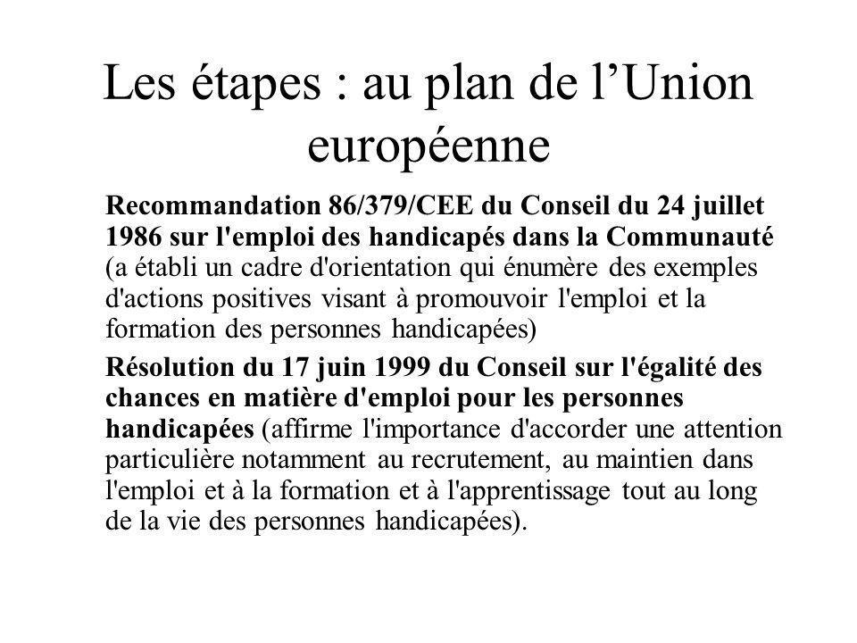 Les étapes : au plan de lUnion européenne Recommandation 86/379/CEE du Conseil du 24 juillet 1986 sur l'emploi des handicapés dans la Communauté (a ét