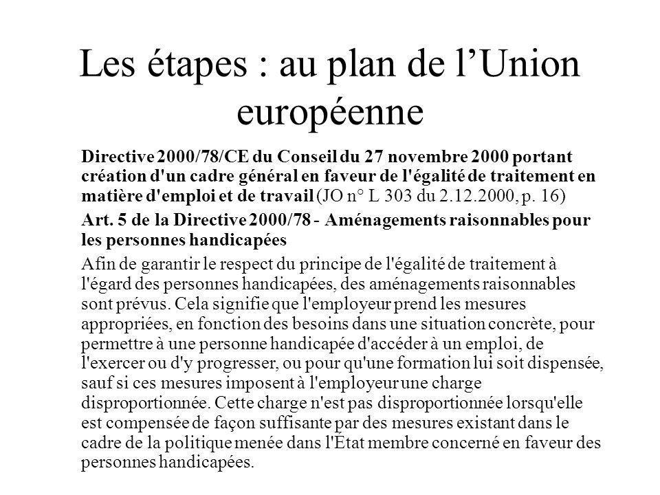 Les étapes : au plan de lUnion européenne Directive 2000/78/CE du Conseil du 27 novembre 2000 portant création d un cadre général en faveur de l égalité de traitement en matière d emploi et de travail (JO n° L 303 du 2.12.2000, p.