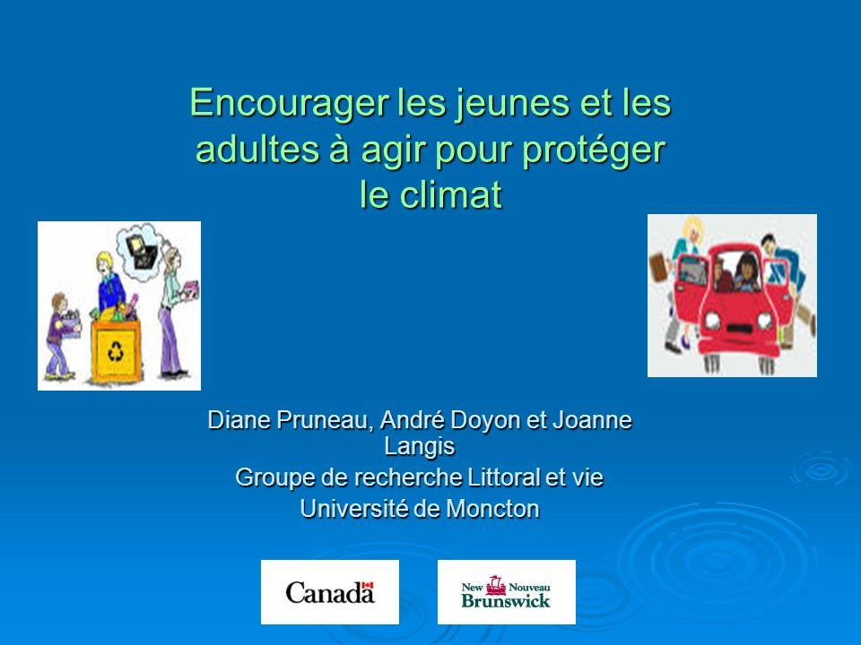 Encourager les jeunes et les adultes à agir pour protéger le climat Diane Pruneau, André Doyon et Joanne Langis Groupe de recherche Littoral et vie Un