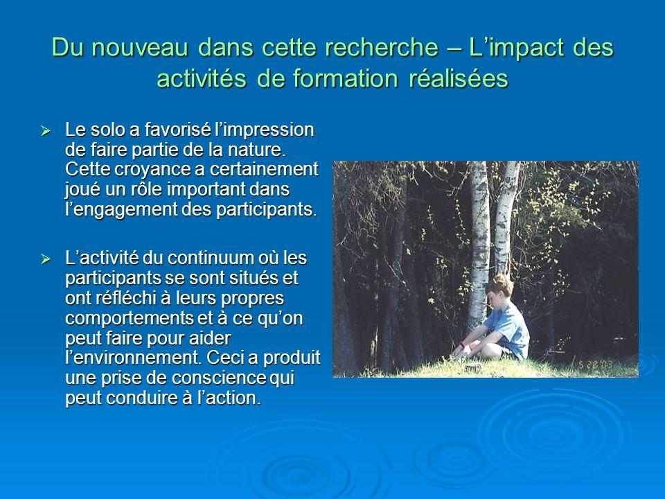 Du nouveau dans cette recherche – Limpact des activités de formation réalisées Le solo a favorisé limpression de faire partie de la nature.