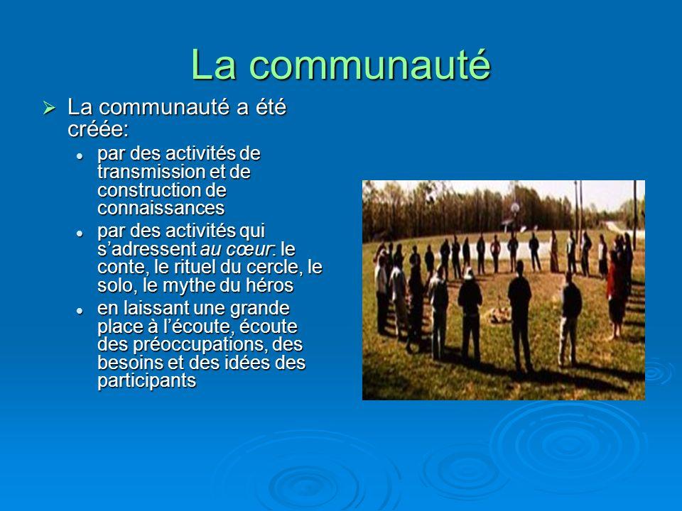 La communauté La communauté a été créée: La communauté a été créée: par des activités de transmission et de construction de connaissances par des acti