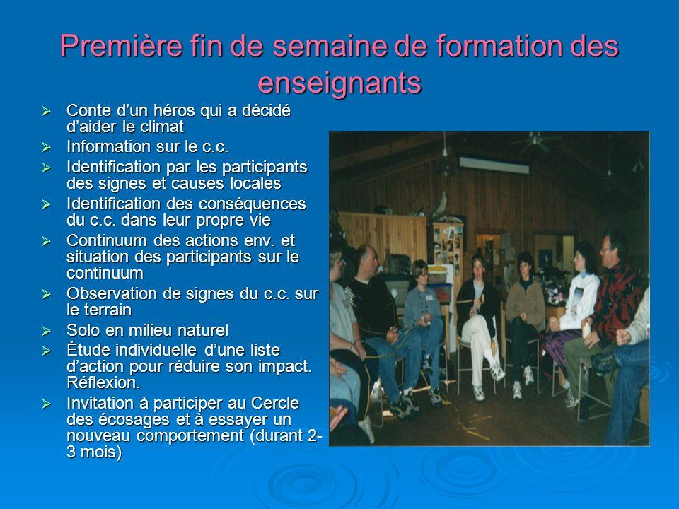 Première fin de semaine de formation des enseignants Conte dun héros qui a décidé daider le climat Conte dun héros qui a décidé daider le climat Information sur le c.c.