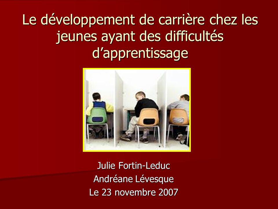 Le développement de carrière chez les jeunes ayant des difficultés dapprentissage Julie Fortin-Leduc Andréane Lévesque Le 23 novembre 2007