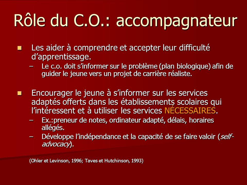 Rôle du C.O.: accompagnateur Les aider à comprendre et accepter leur difficulté dapprentissage. Les aider à comprendre et accepter leur difficulté dap