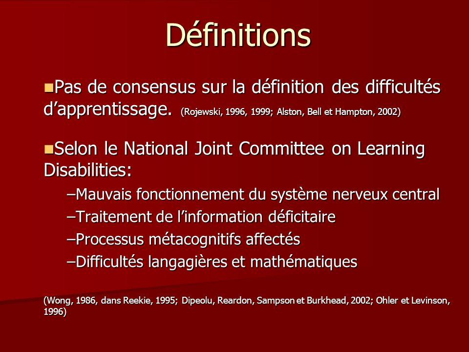 Définitions Pas de consensus sur la définition des difficultés dapprentissage. (Rojewski, 1996, 1999; Alston, Bell et Hampton, 2002) Pas de consensus