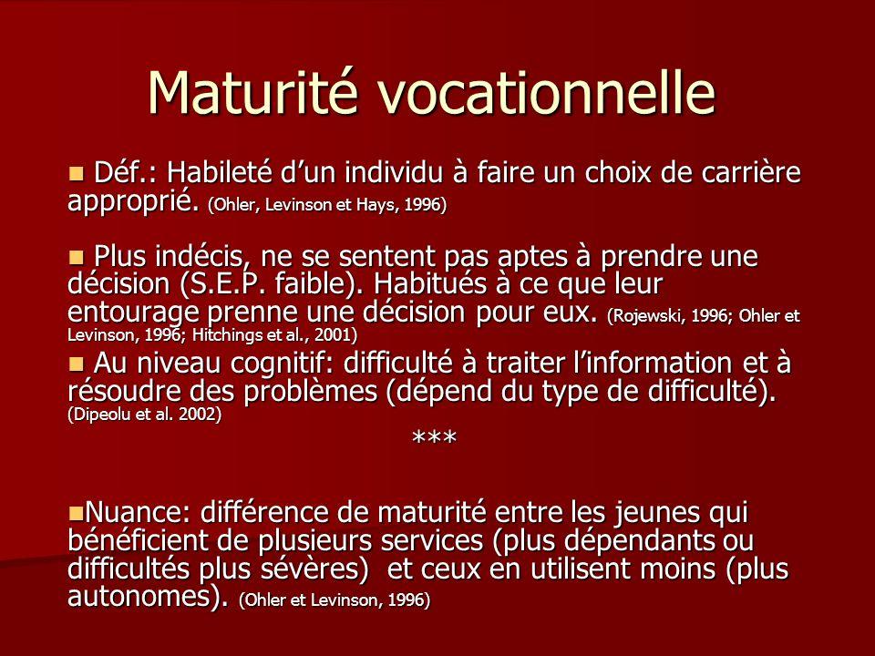 Maturité vocationnelle Déf.: Habileté dun individu à faire un choix de carrière approprié. (Ohler, Levinson et Hays, 1996) Déf.: Habileté dun individu