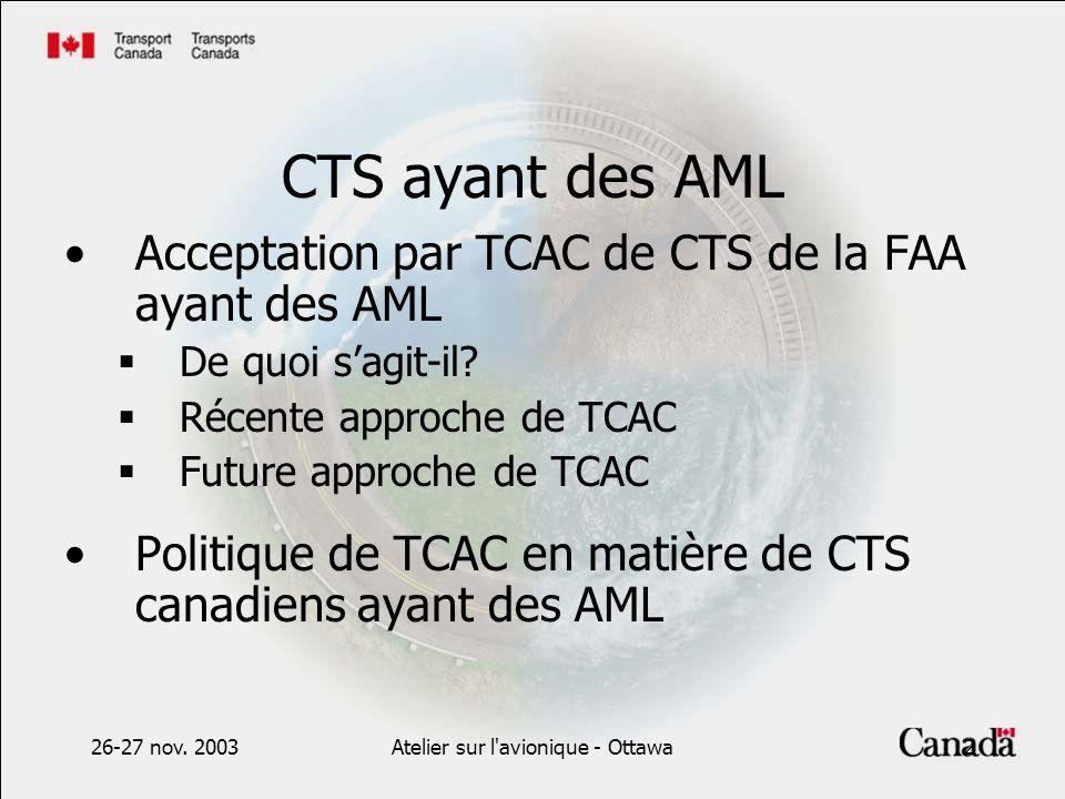 26-27 nov. 2003Atelier sur l'avionique - Ottawa2 CTS ayant des AML Acceptation par TCAC de CTS de la FAA ayant des AML De quoi sagit-il? Récente appro