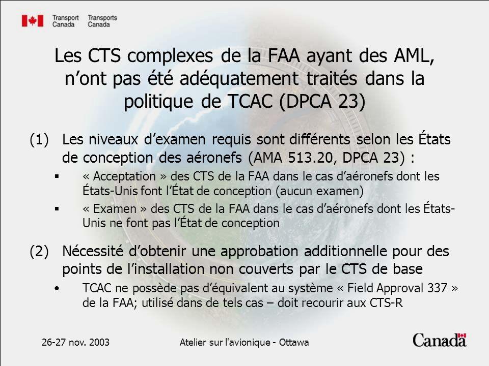 26-27 nov. 2003Atelier sur l'avionique - Ottawa4 Les CTS complexes de la FAA ayant des AML, nont pas été adéquatement traités dans la politique de TCA