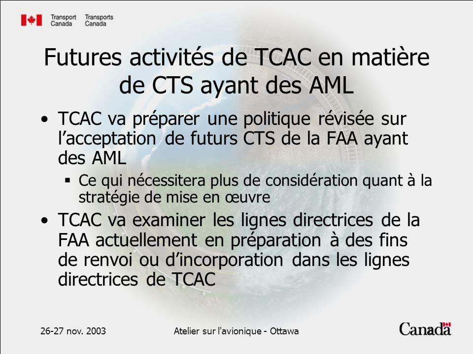 26-27 nov. 2003Atelier sur l'avionique - Ottawa6 Futures activités de TCAC en matière de CTS ayant des AML TCAC va préparer une politique révisée sur
