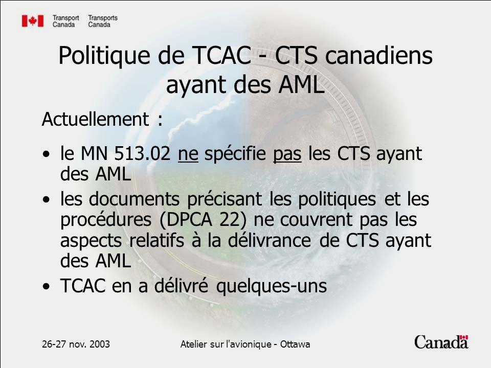 26-27 nov. 2003Atelier sur l'avionique - Ottawa7 Politique de TCAC - CTS canadiens ayant des AML Actuellement : le MN 513.02 ne spécifie pas les CTS a