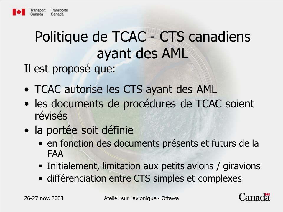 26-27 nov. 2003Atelier sur l'avionique - Ottawa8 Politique de TCAC - CTS canadiens ayant des AML Il est proposé que: TCAC autorise les CTS ayant des A