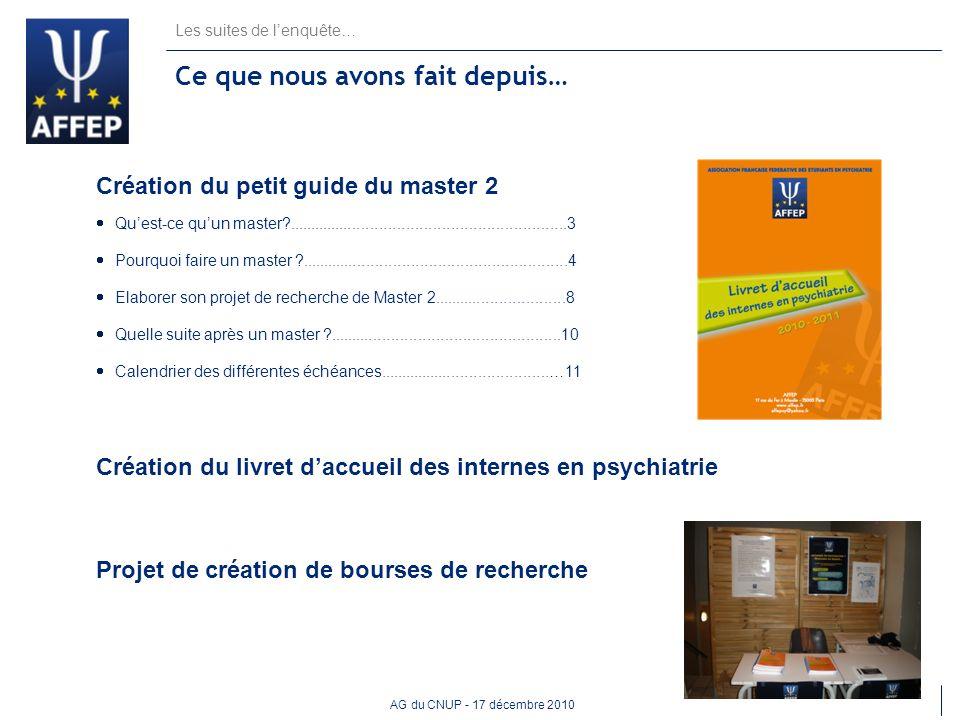 AG du CNUP - 17 décembre 2010 Les suites de lenquête… Ce que nous avons fait depuis… Création du petit guide du master 2 Quest-ce quun master?........