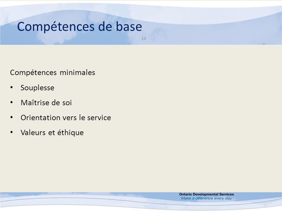 Compétences de base 14 Compétences minimales Souplesse Maîtrise de soi Orientation vers le service Valeurs et éthique