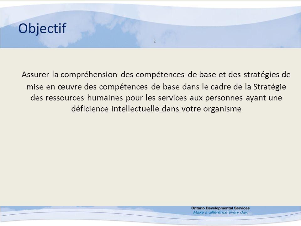 Objectif 2 Assurer la compréhension des compétences de base et des stratégies de mise en œuvre des compétences de base dans le cadre de la Stratégie des ressources humaines pour les services aux personnes ayant une déficience intellectuelle dans votre organisme