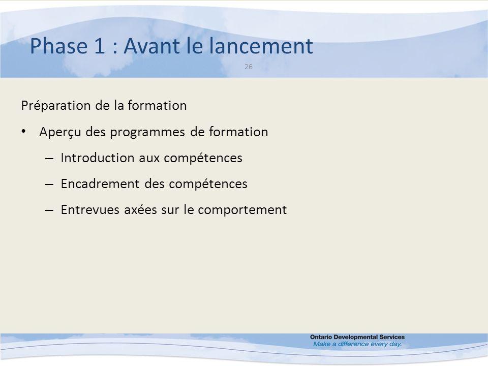 Phase 1 : Avant le lancement 26 Préparation de la formation Aperçu des programmes de formation – Introduction aux compétences – Encadrement des compétences – Entrevues axées sur le comportement