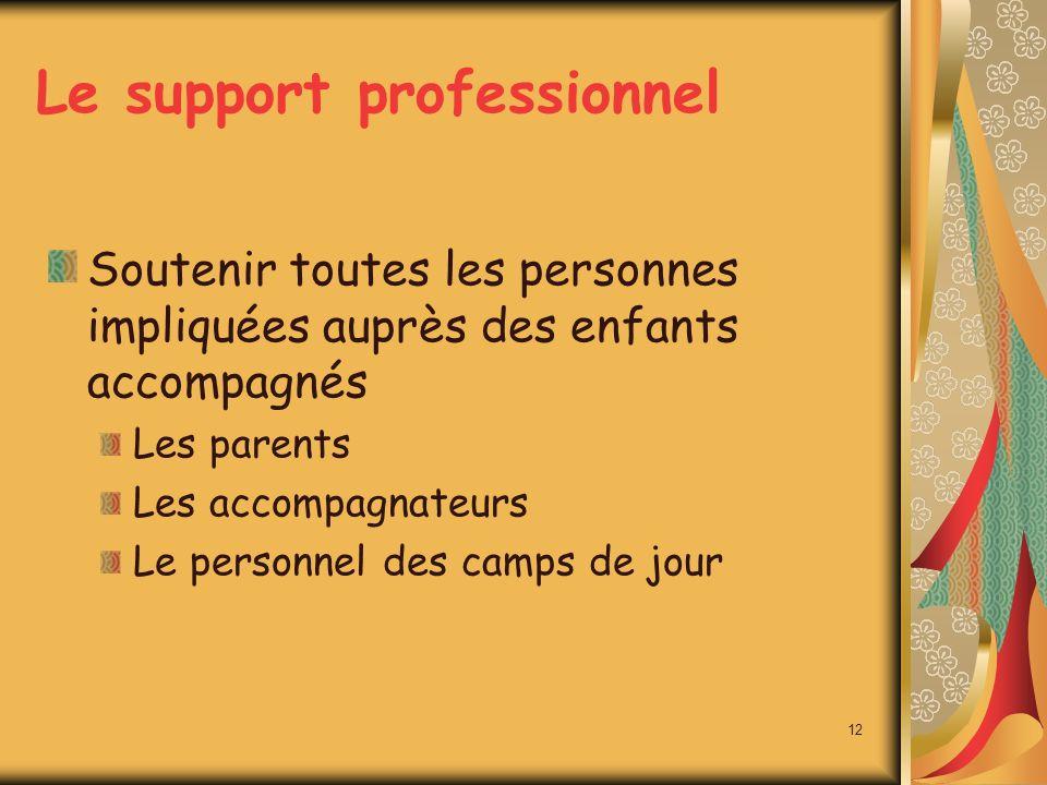Le support professionnel Soutenir toutes les personnes impliquées auprès des enfants accompagnés Les parents Les accompagnateurs Le personnel des camps de jour 12
