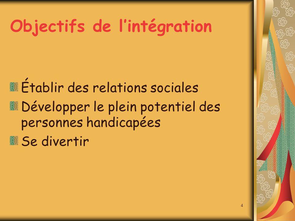 Objectifs de lintégration Établir des relations sociales Développer le plein potentiel des personnes handicapées Se divertir 4