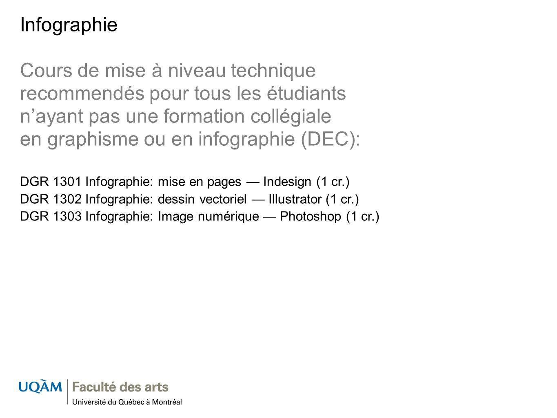 Infographie Cours de mise à niveau technique recommendés pour tous les étudiants nayant pas une formation collégiale en graphisme ou en infographie (D
