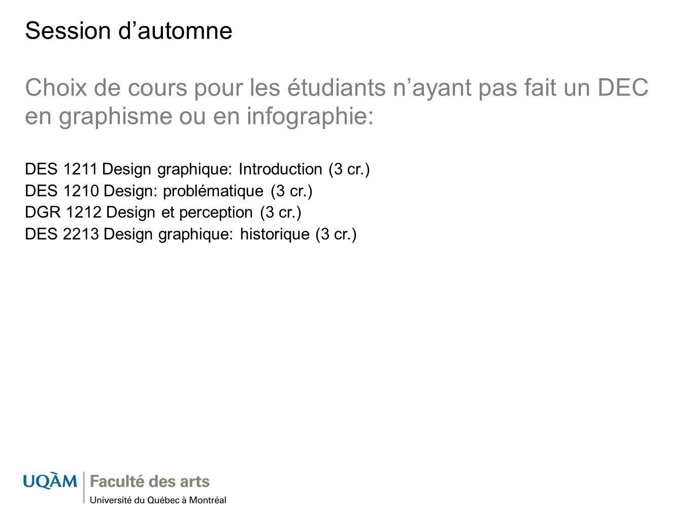Session dautomne Choix de cours pour les étudiants nayant pas fait un DEC en graphisme ou en infographie: DES 1211 Design graphique: Introduction (3 c