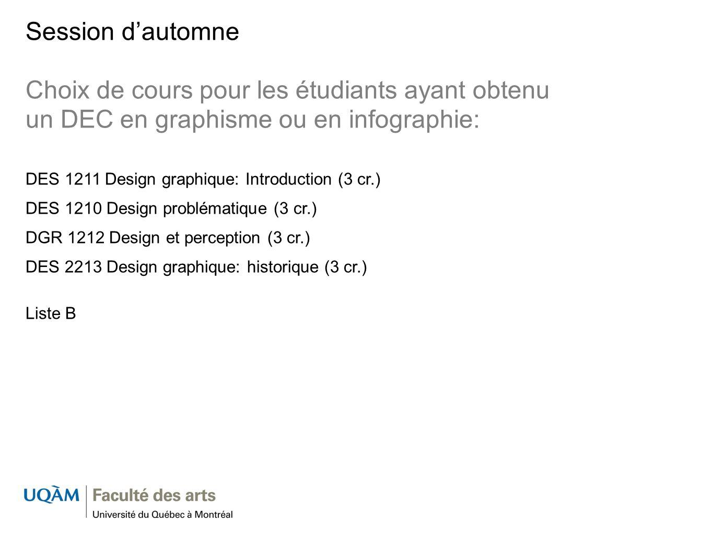 Session dautomne Choix de cours pour les étudiants ayant obtenu un DEC en graphisme ou en infographie: DES 1211 Design graphique: Introduction (3 cr.)