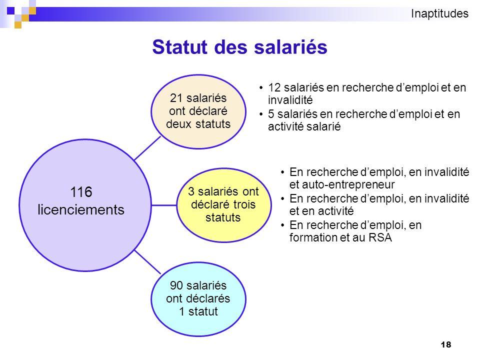 18 Statut des salariés 21 salariés ont déclaré deux statuts 12 salariés en recherche demploi et en invalidité 5 salariés en recherche demploi et en ac