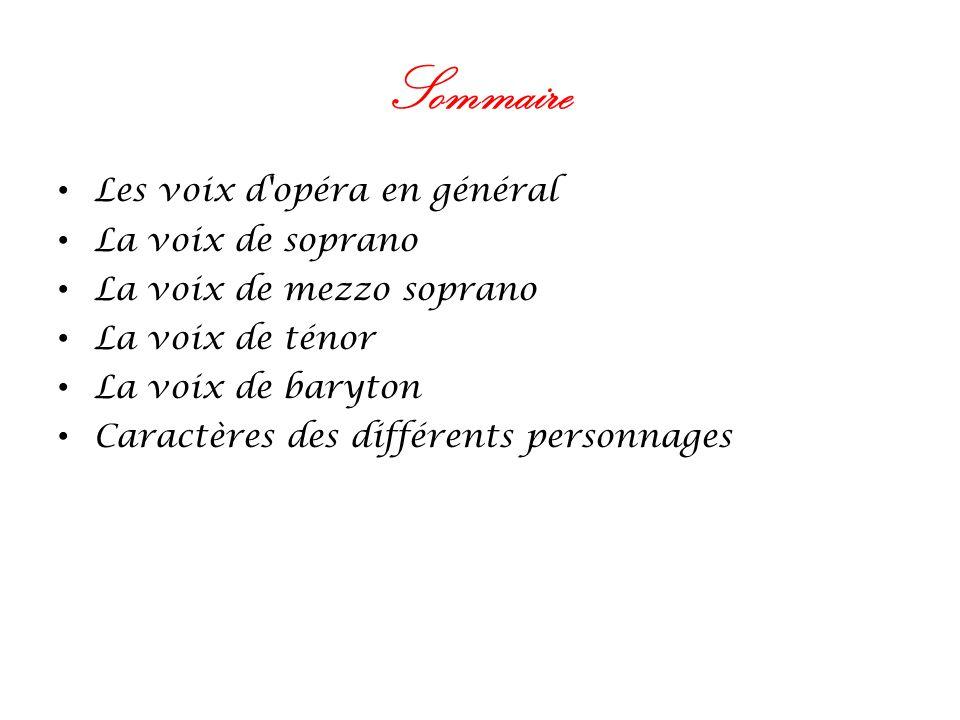 Sommaire Les voix d'opéra en général La voix de soprano La voix de mezzo soprano La voix de ténor La voix de baryton Caractères des différents personn