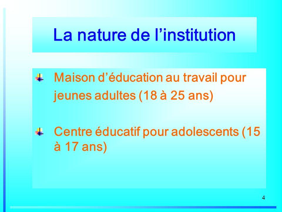 4 La nature de linstitution Maison déducation au travail pour jeunes adultes (18 à 25 ans) Centre éducatif pour adolescents (15 à 17 ans)
