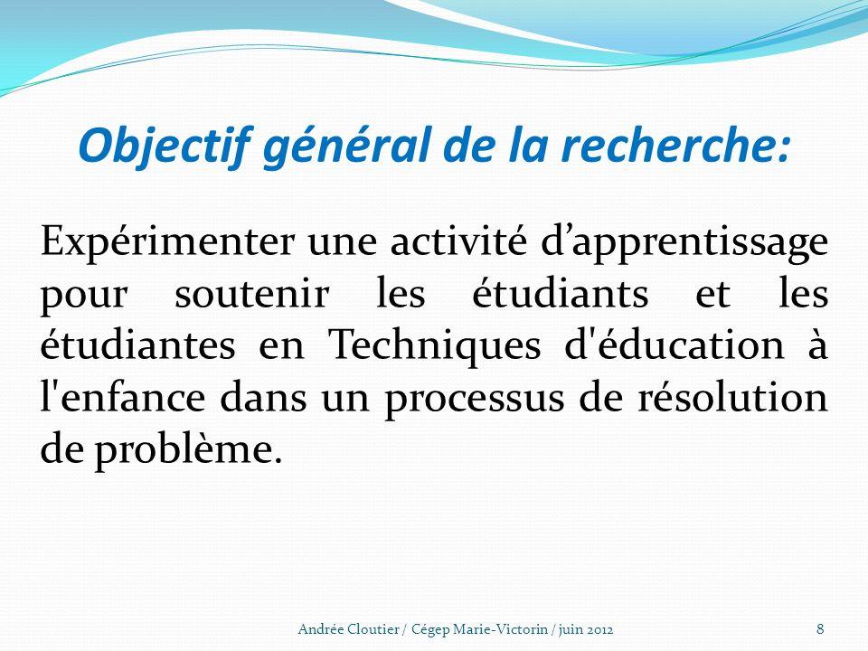 Objectif général de la recherche: Expérimenter une activité dapprentissage pour soutenir les étudiants et les étudiantes en Techniques d'éducation à l