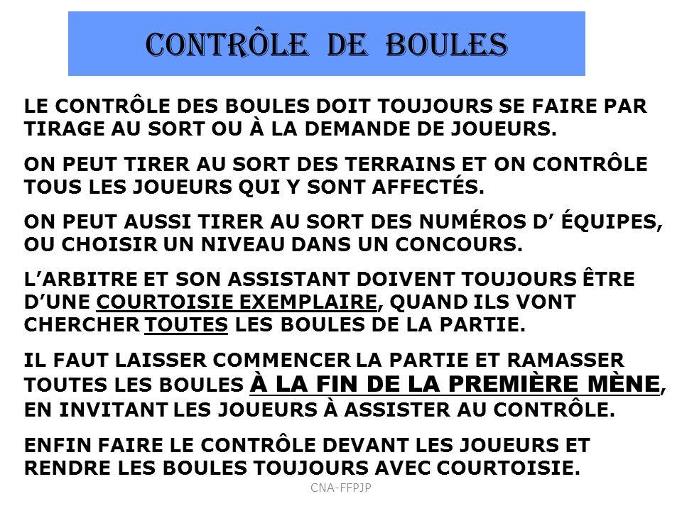 CONTRÔLE DE BOULES LE CONTRÔLE DES BOULES DOIT TOUJOURS SE FAIRE PAR TIRAGE AU SORT OU À LA DEMANDE DE JOUEURS. ON PEUT TIRER AU SORT DES TERRAINS ET