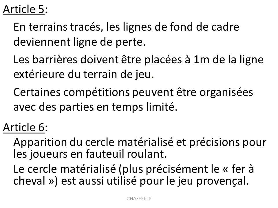 Article 5: En terrains tracés, les lignes de fond de cadre deviennent ligne de perte. Les barrières doivent être placées à 1m de la ligne extérieure d