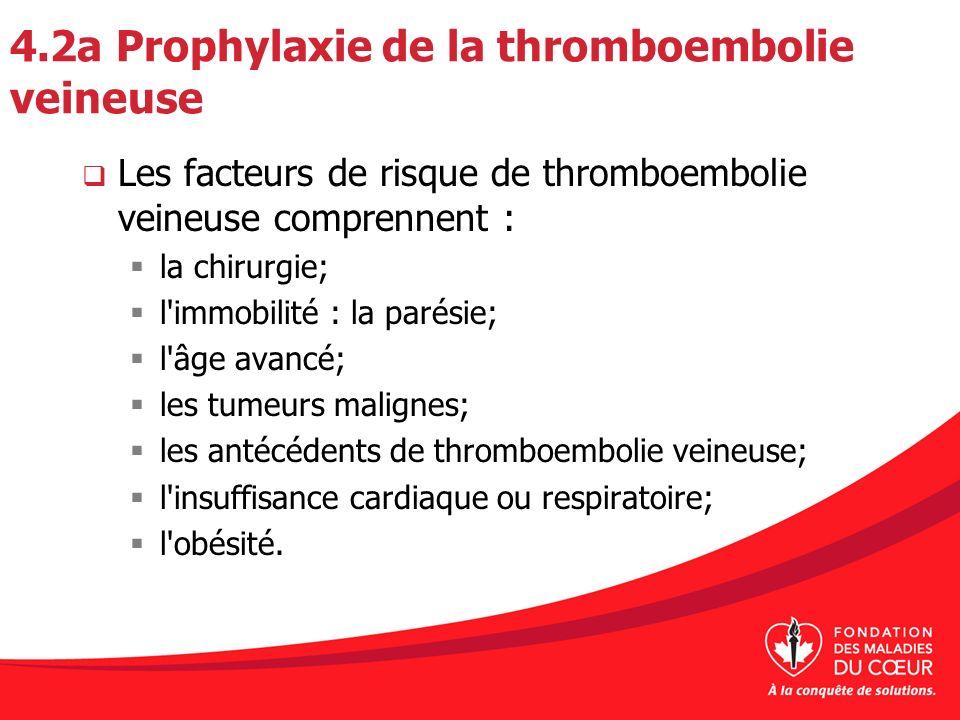 4.2a Prophylaxie de la thromboembolie veineuse Les facteurs de risque de thromboembolie veineuse comprennent : la chirurgie; l'immobilité : la parésie