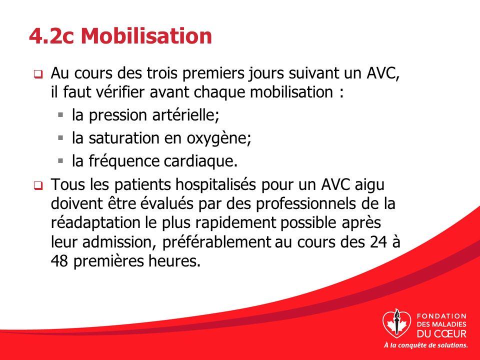 4.2c Mobilisation Au cours des trois premiers jours suivant un AVC, il faut vérifier avant chaque mobilisation : la pression artérielle; la saturation