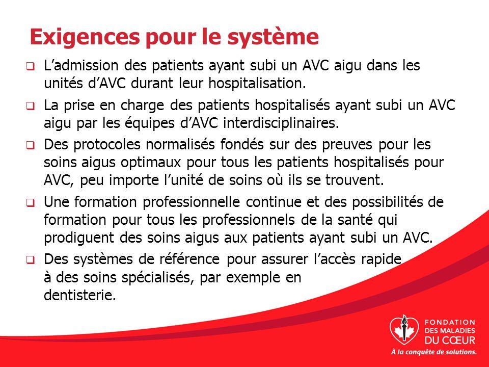 Exigences pour le système Ladmission des patients ayant subi un AVC aigu dans les unités dAVC durant leur hospitalisation. La prise en charge des pati