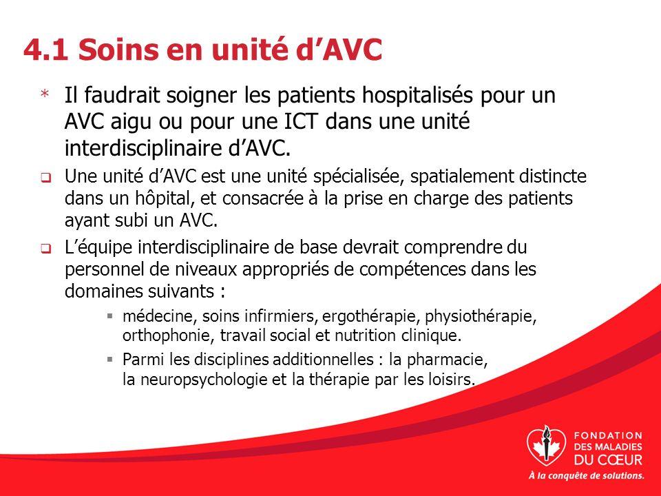 4.1 Soins en unité dAVC * Il faudrait soigner les patients hospitalisés pour un AVC aigu ou pour une ICT dans une unité interdisciplinaire dAVC. Une u