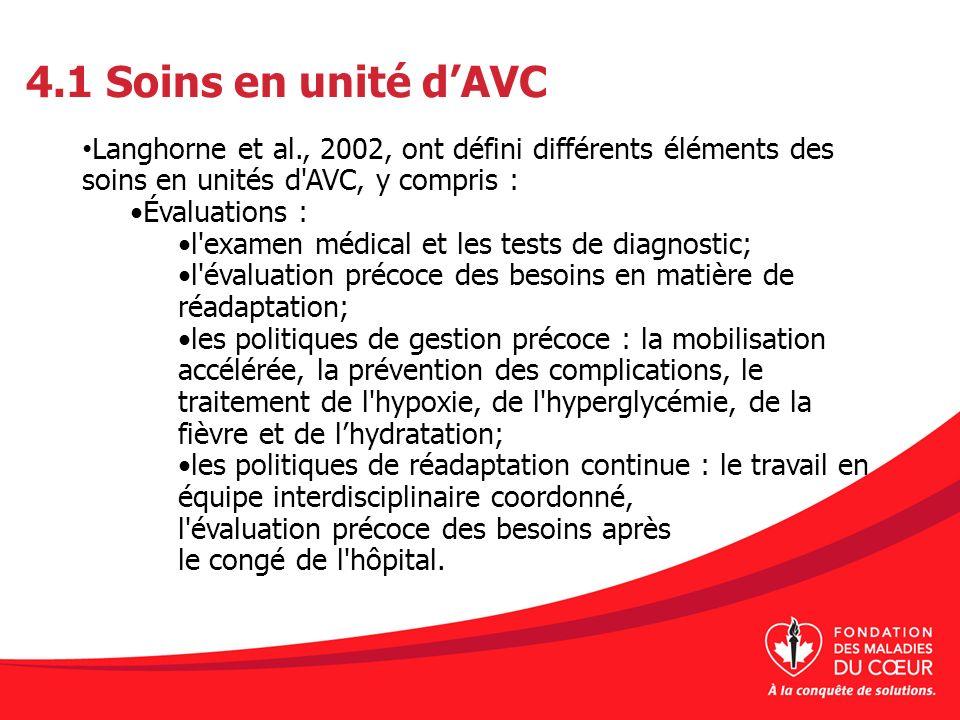 4.1 Soins en unité dAVC Langhorne et al., 2002, ont défini différents éléments des soins en unités d'AVC, y compris : Évaluations : l'examen médical e