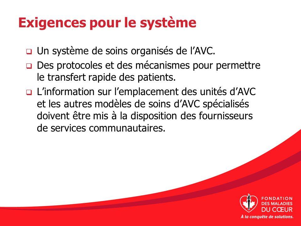 Exigences pour le système Un système de soins organisés de lAVC. Des protocoles et des mécanismes pour permettre le transfert rapide des patients. Lin