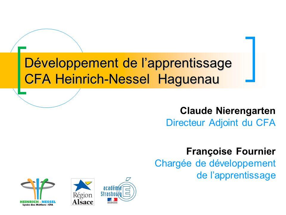 Développement de lapprentissage CFA Heinrich-Nessel Haguenau Claude Nierengarten Directeur Adjoint du CFA Françoise Fournier Chargée de développement