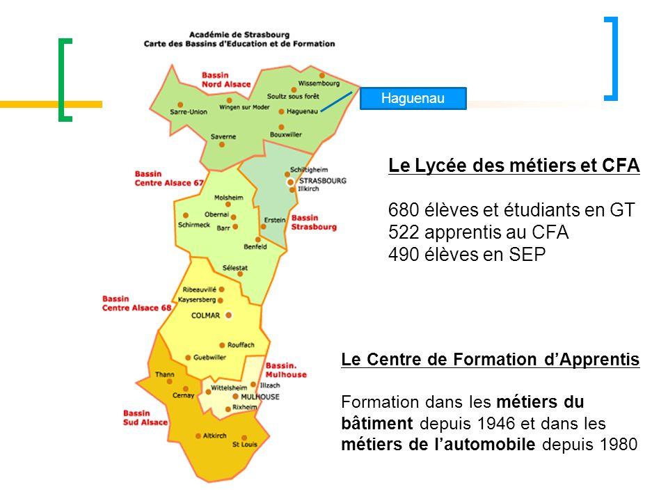 Haguenau Le Lycée des métiers et CFA 680 élèves et étudiants en GT 522 apprentis au CFA 490 élèves en SEP Le Centre de Formation dApprentis Formation